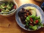 Spicy chicken livers, sweet potato mash & raisin relish