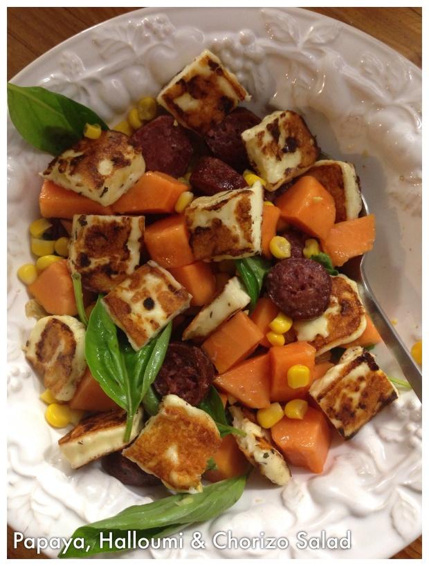 Papaya & Halloumi salad
