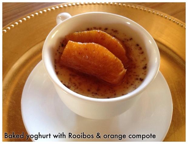 Baked yoghurt with Rooibos & orange compote
