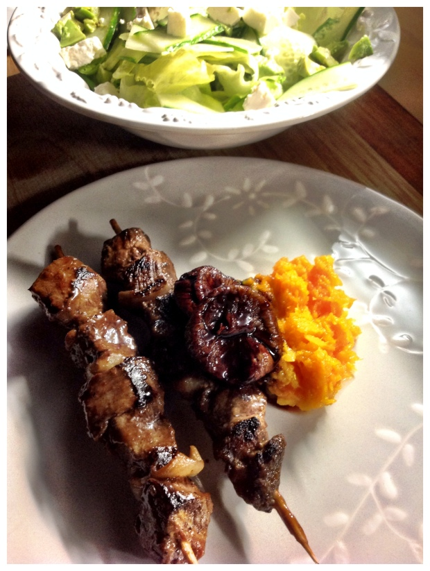 Venison kebabs & Port figs