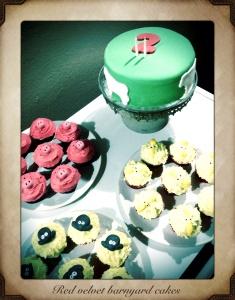 Red velvet barnyard cake & cupcakes