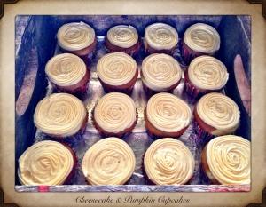 Cheesecake stuffed pumpkin cupcakes