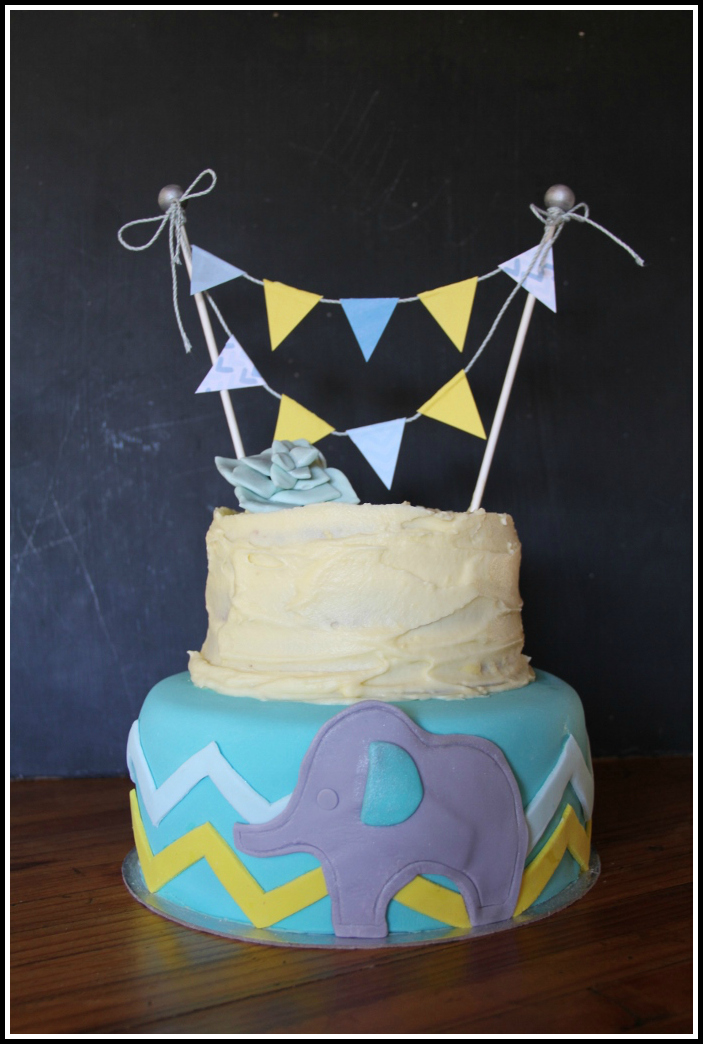 Baby Shower {Boy} Cake With Bunting 1
