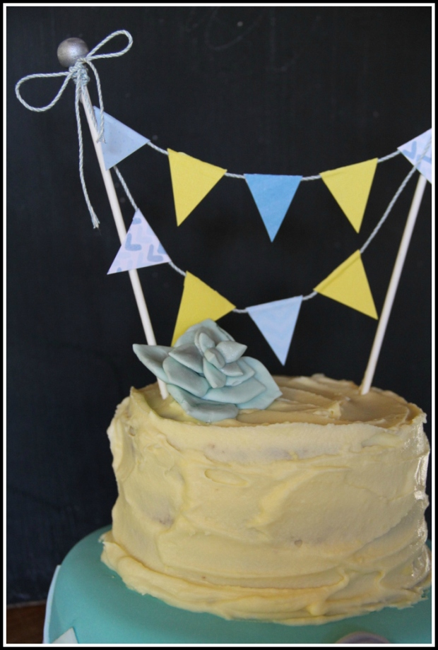 Baby Shower {Boy} cake with bunting 2