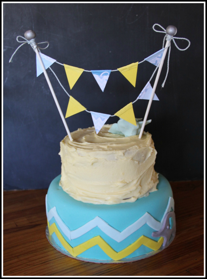 Baby Shower {Boy} Cake With Bunting 3
