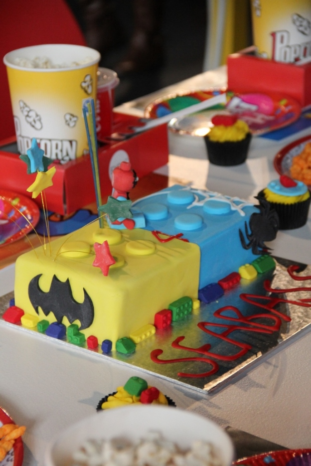 Spiderman & Batman Lego cake