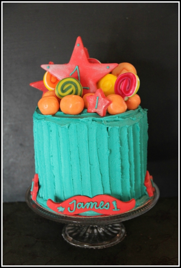 Bright turquoise & red 1st bday - front