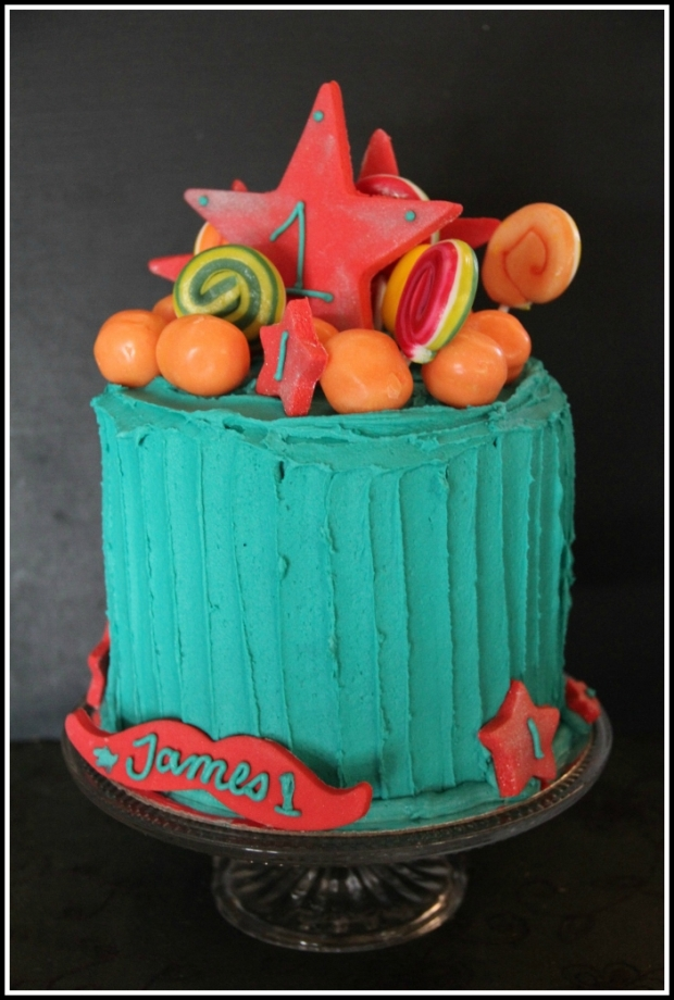 Bright turquoise & red 1st bday - side