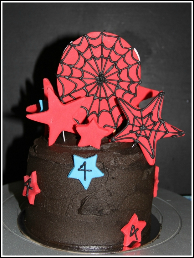 Double-choc SpiderMan Celebration Cake - back