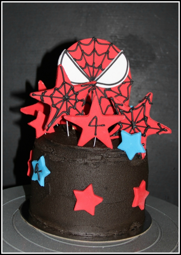Double-choc SpiderMan Celebration Cake - front