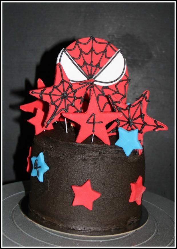 Double-choc SpiderMan Celebration Cake - front