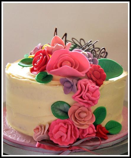 Red Velvet birthday cake with fondant & chocolate flowers