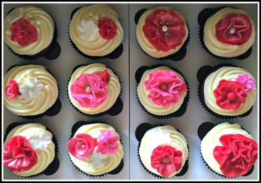 Red Velvet Cupcakes with Flower detail